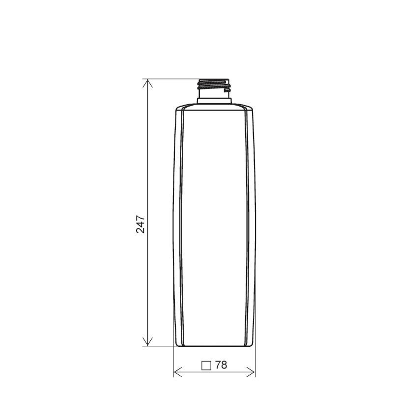 Flacone quadrato 1 lt HDPE/PP, collo 28/410, linea DAMASCO (Disegno)