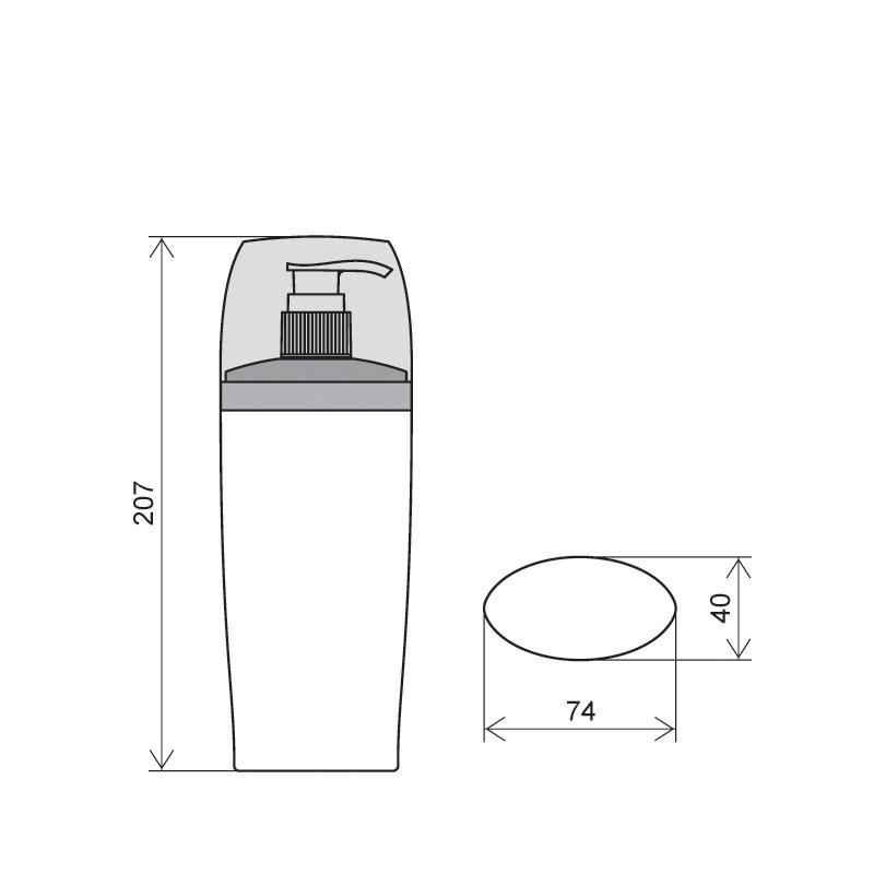 Flacone ovale 250 ml HDPE/PP, collo 24/410, linea IBIZA (Disegno)