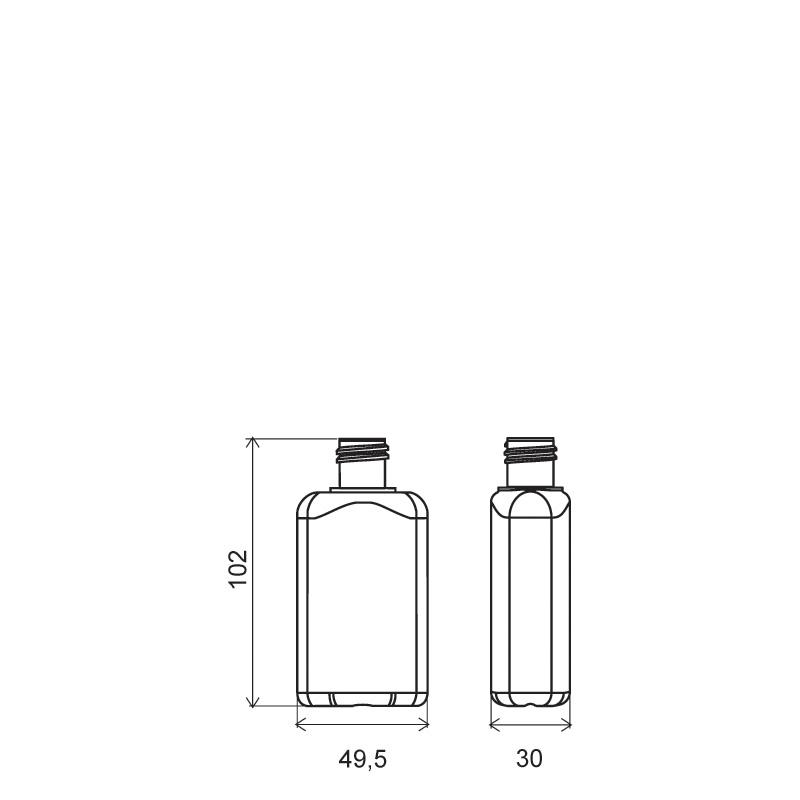 Flacone sagomato 80ml PVC, collo 20/415, linea BERNA (Disegno)