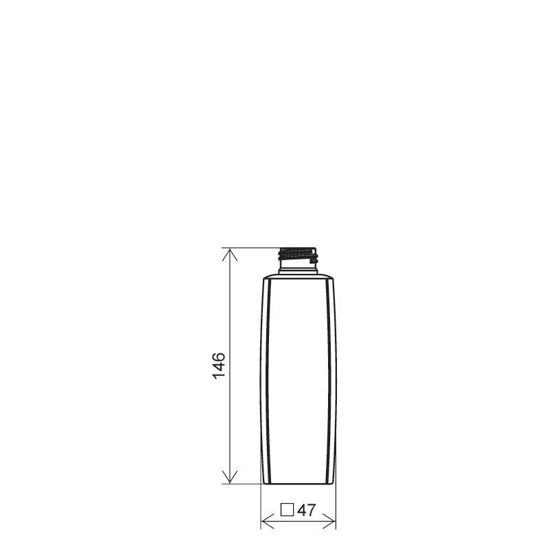 Flacone quadrato 200 ml HDPE/PP, collo 24/410, linea DAMASCO (Disegno)