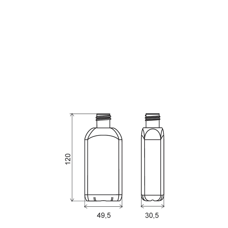 Flacone sagomato 100 ml PVC, collo 20/415, linea BERNA (Disegno)