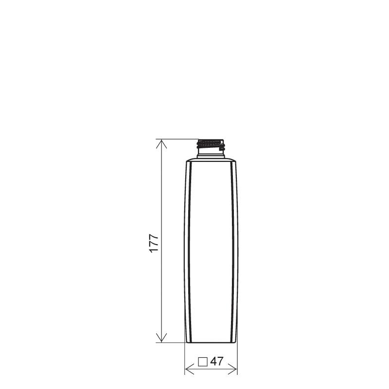 Flacone quadrato 250 ml HDPE/PP, collo 24/410, linea DAMASCO (Disegno)