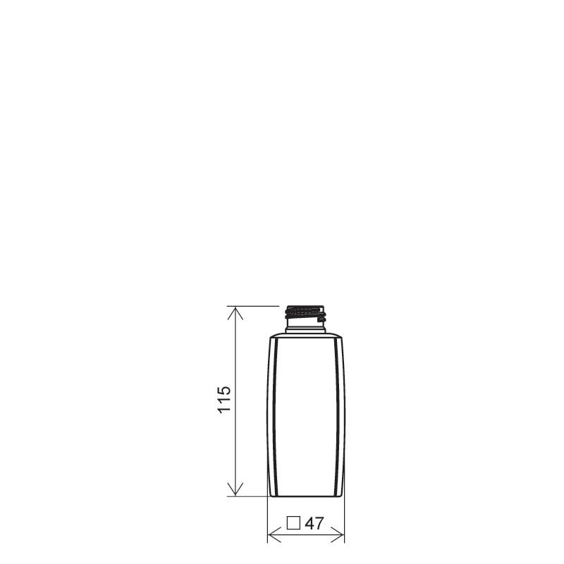 Flacone quadrato 150 ml HDPE/PP, collo 24/410, linea DAMASCO (Disegno)