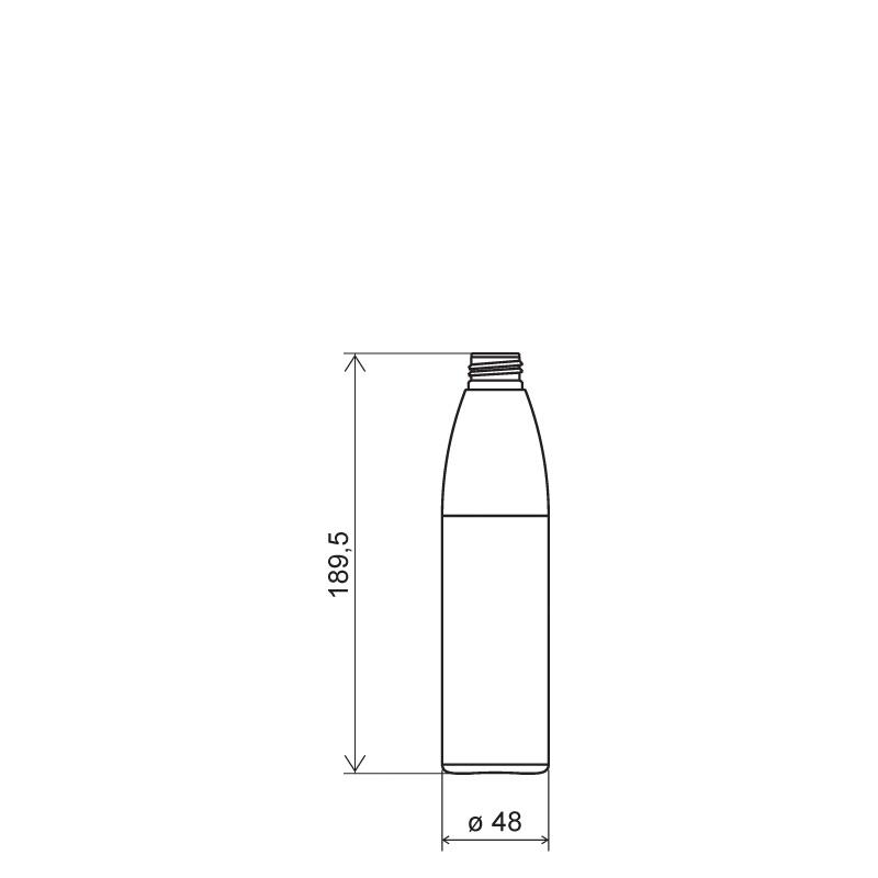 Flacone cilindrico 250 ml HDPE/SOFT TOUCH , collo 24/410, linea ISCHIA (Disegno)