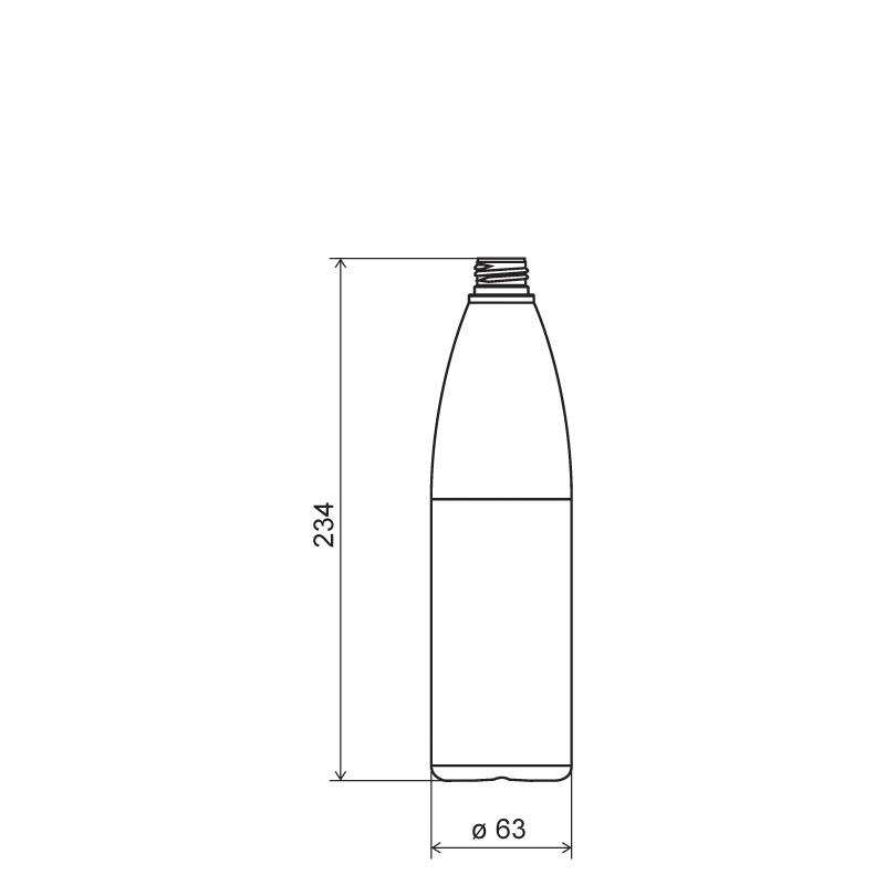 Flacone cilindrico 500 ml HDPE/SOFT TOUCH, collo 24/410, linea ISCHIA (Disegno)