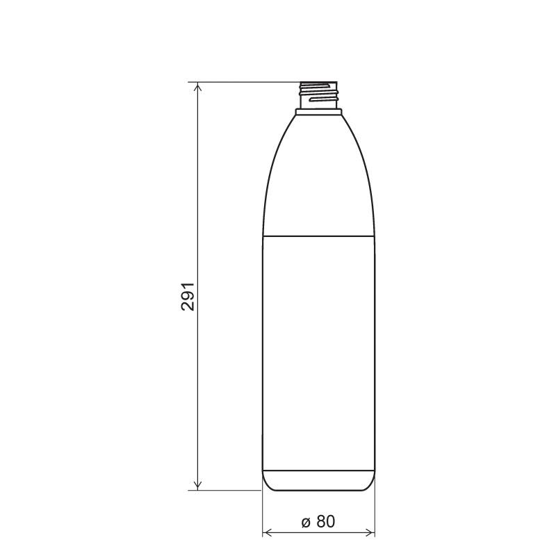 Flacone cilindrico 1 lt HDPE/SOFT TOUCH, collo 28/410, linea ISCHIA (Disegno)