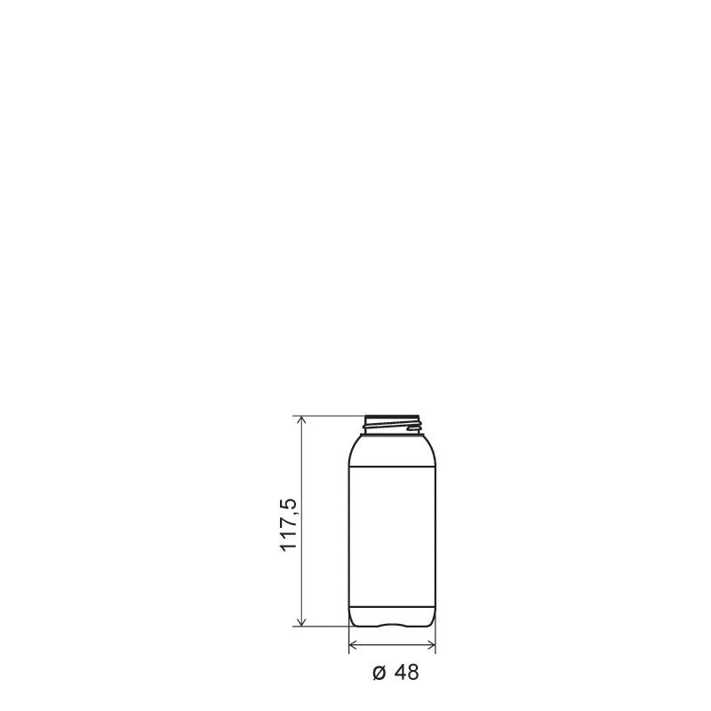 Flacone cilindrico 150 ml HDPE/SOFT TOUCH, collo 33/400, linea ISCHIA (Disegno)