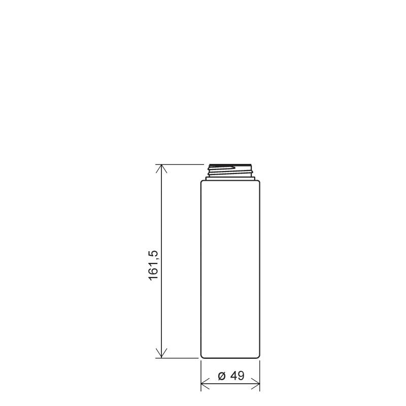 Flacone circolare 230 ml HDPE/PP, collo 34/400, linea NEW YORK (Disegno)