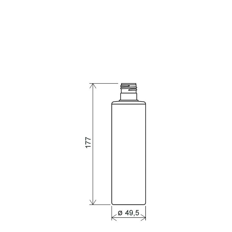Flacone cilindrico 250 ml HDPE/PP, collo 24/415, linea NEW YORK (Disegno)