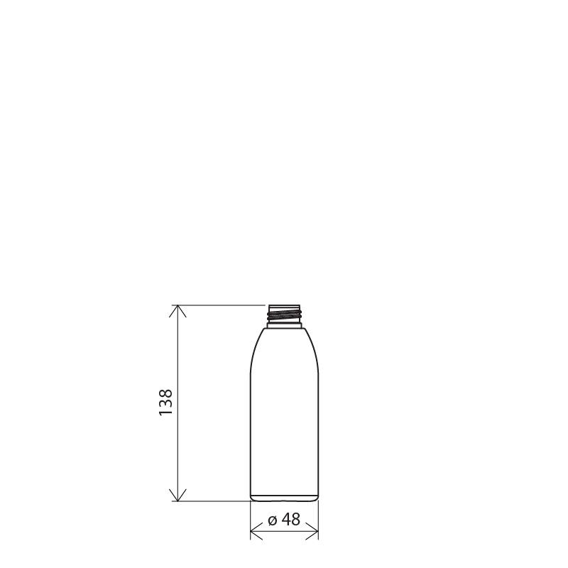 Flacone cilindrico 150 ml HDPE/SOFT TOUCH , collo 24/410, linea ISCHIA (Disegno)