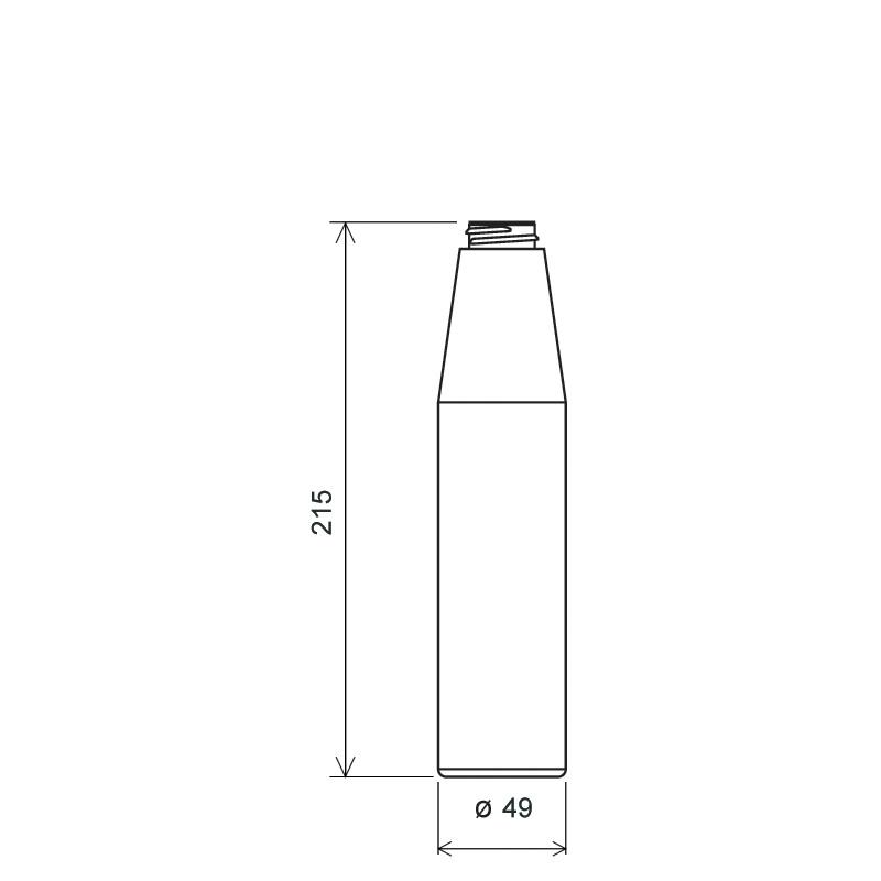 Flacone cilindrico 300 ml LDPE, collo 28/400, linea MILOS (Disegno)