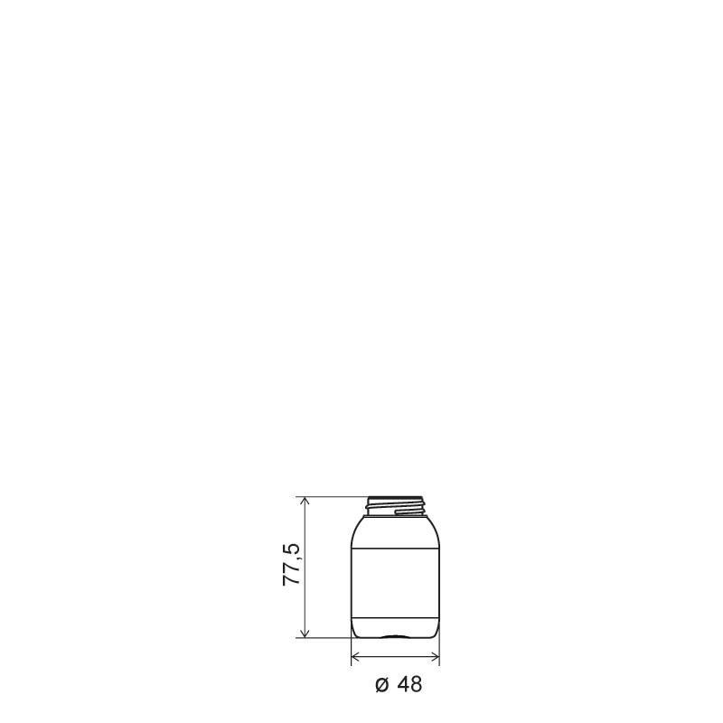 Flacone cilindrico 75 ml HDPE/SOFT TOUCH, collo 33/400, linea ISCHIA (Disegno)