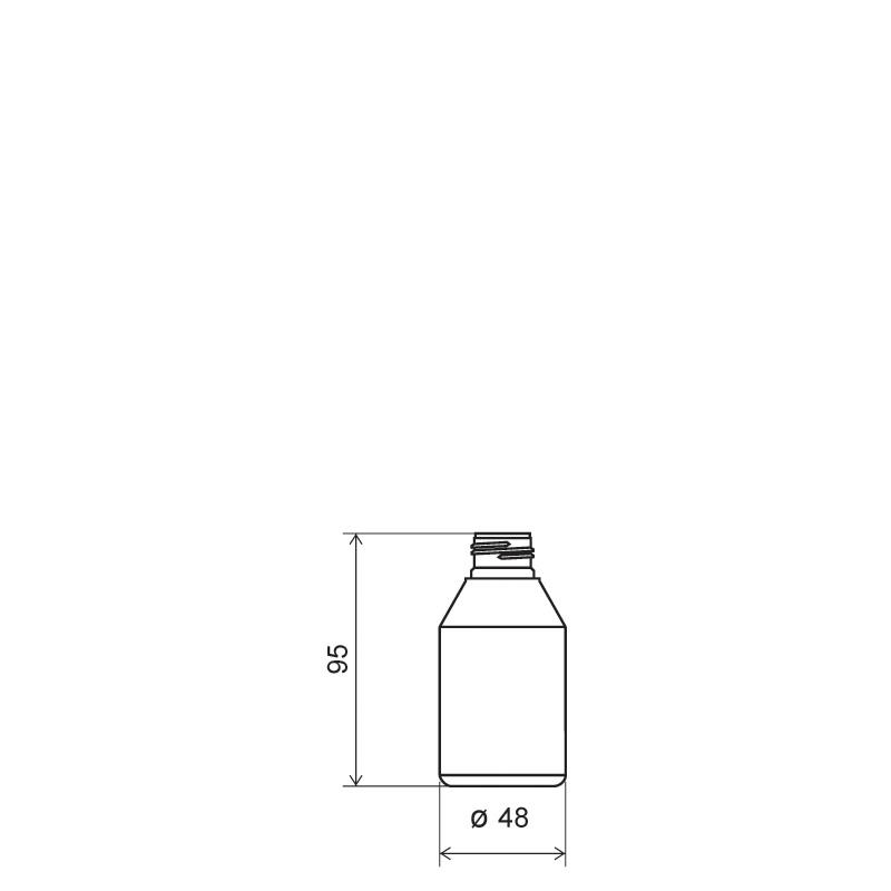 Flacone circolare 100 ml PET, collo 24/410, linea BERNA (Disegno)