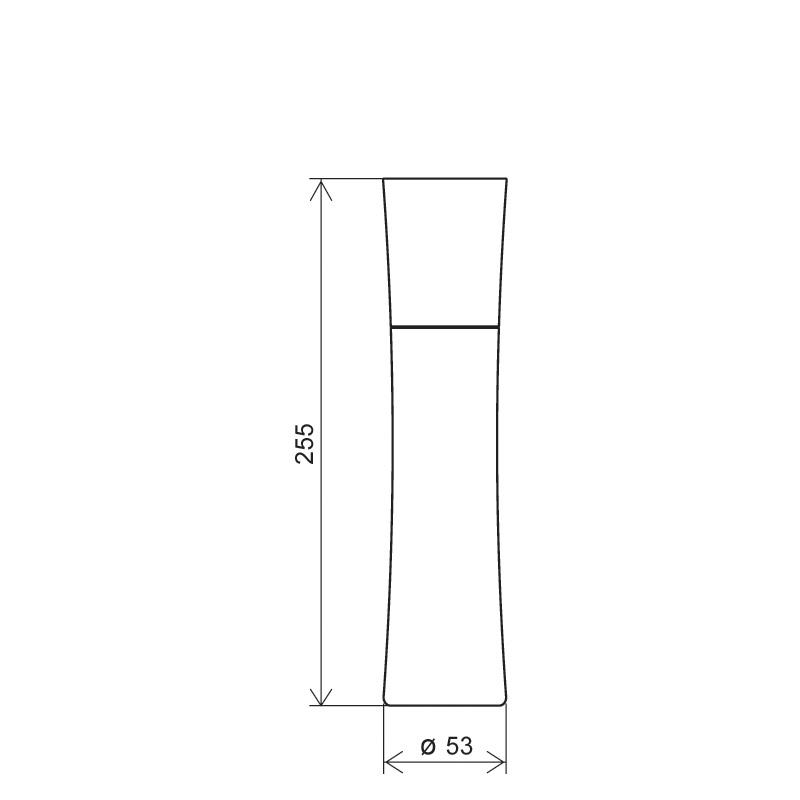 Flacone conico 300 ml HDPE/PP, collo 24/410, linea SHANGHAI (Disegno)