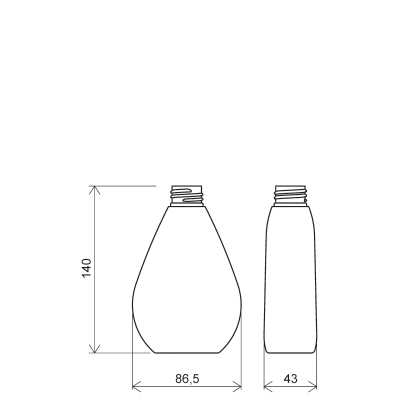 Flacone a goccia 250 ml PETG, collo 28/410, linea TROPEA (Disegno)