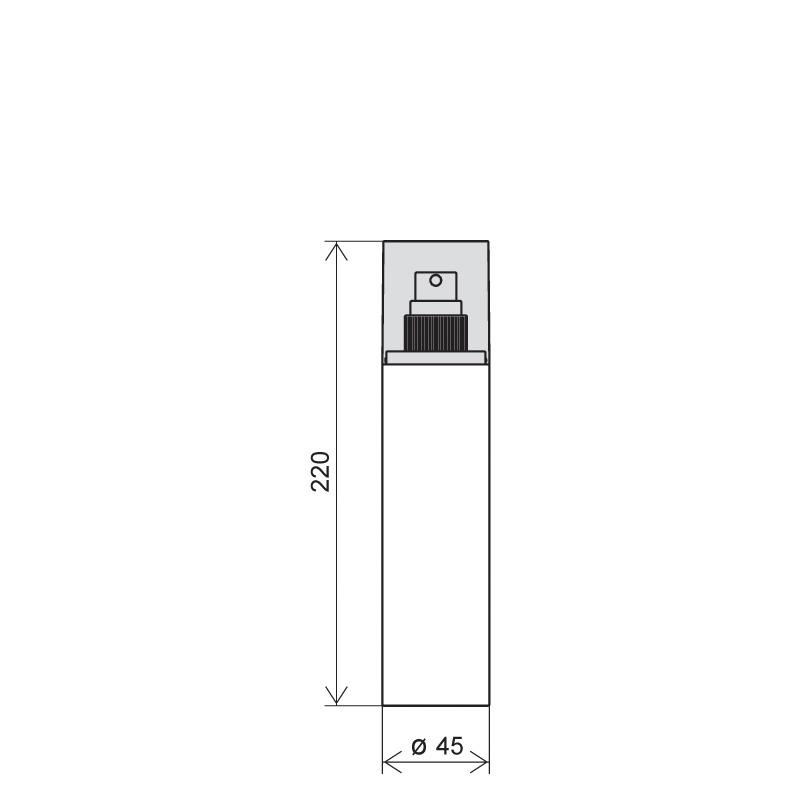 Flacone circolare 200 ml PETG, collo 24/410, linea FORTALEZA (Disegno)