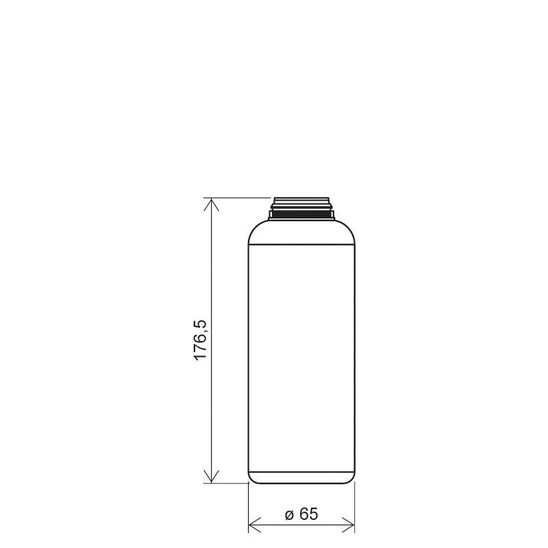Flacone circolare per talco 500 ml HDPE, collo snap-on, linea BERNA (Disegno)