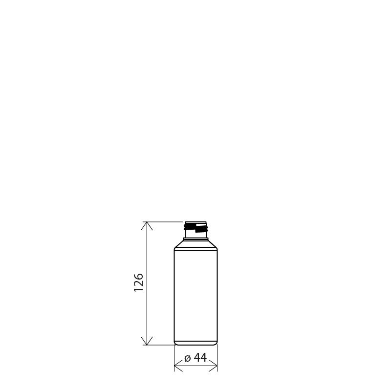 Flacone cilindrico spalla conica 125 ml PETG, collo 24/410, linea MANHATTAN (Disegno)