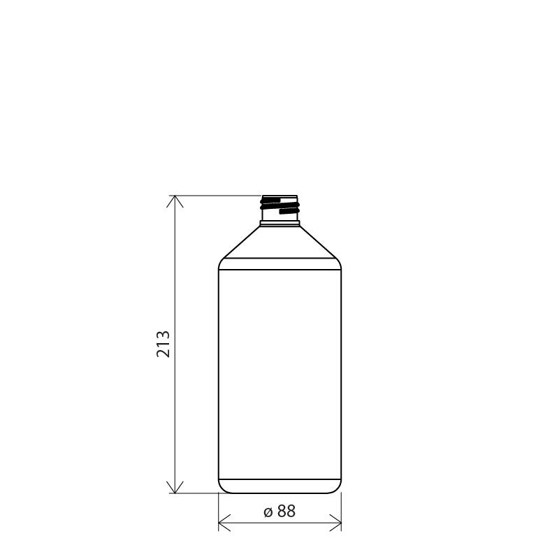 Flacone cilindrico spalla conica 1 lt PETG, collo 28/410, linea MANHATTAN (Disegno)