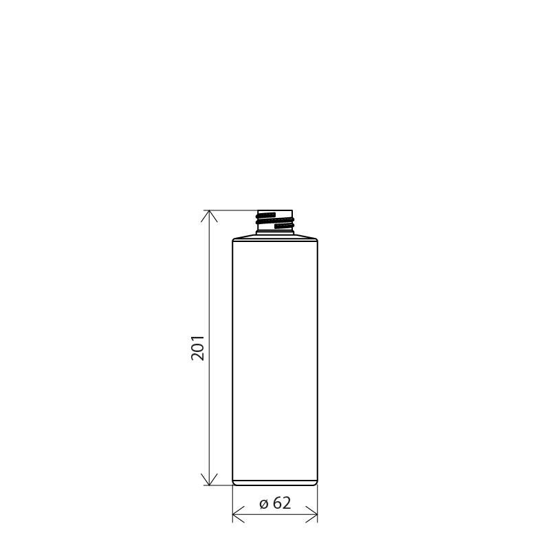 Flacone cilindrico 500 ml PETG, collo 28/410, linea MANHATTAN (Disegno)