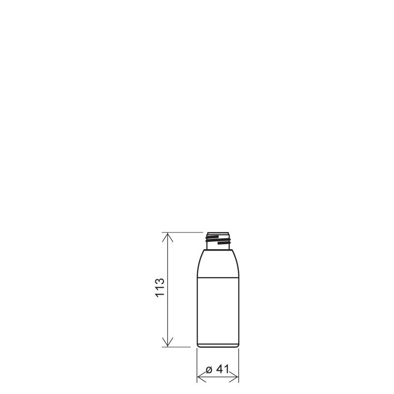 Flacone cilindrico 100 ml PVC, collo 24/410, linea ISCHIA (Disegno)