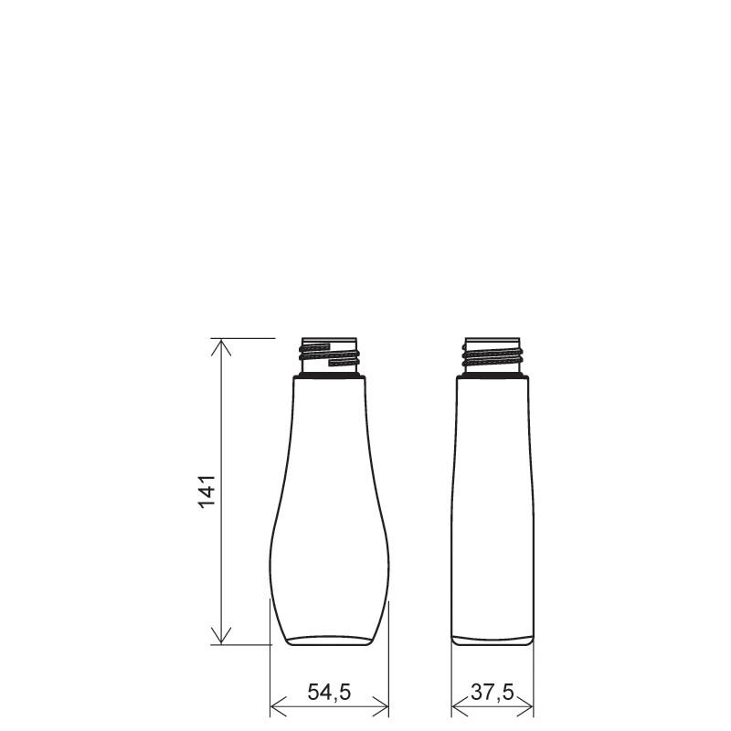 Flacone a goccia 125 ml PETG, collo 28/410, linea TROPEA (Disegno)