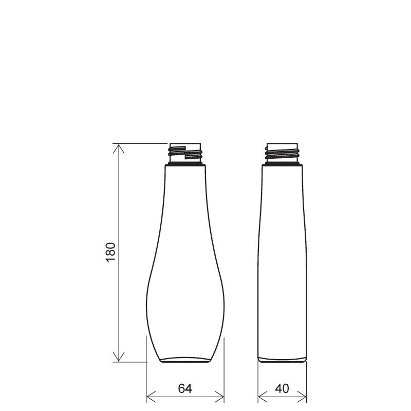 Flacone a goccia 200 ml PETG, collo 28/410, linea TROPEA (Disegno)