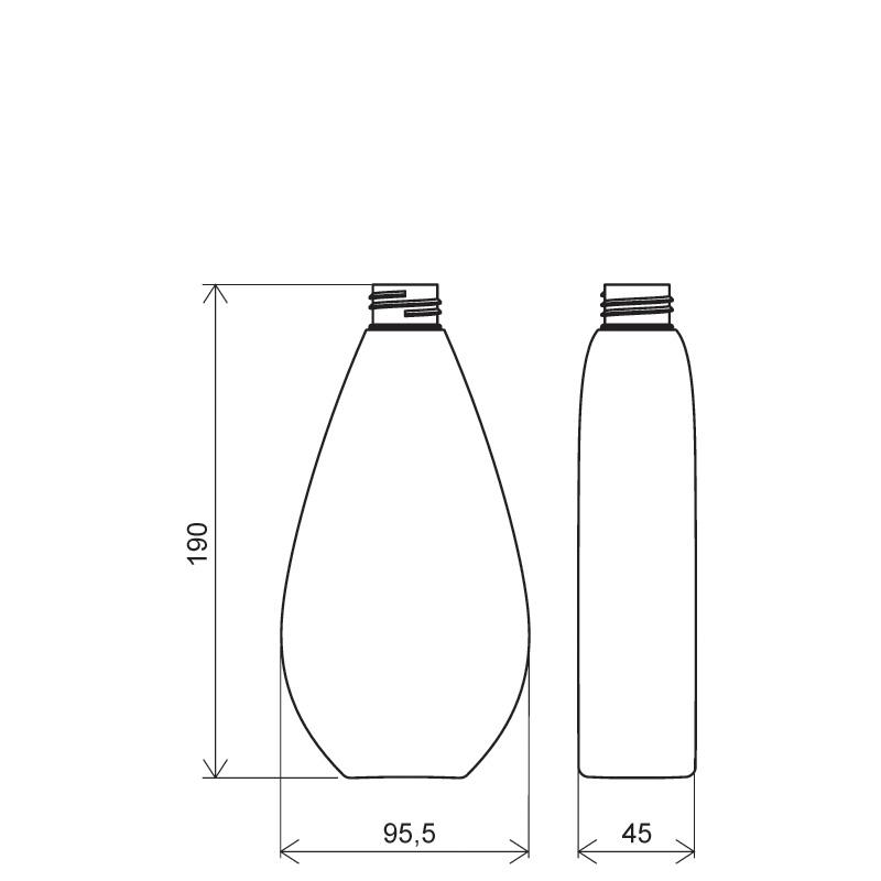 Flacone a goccia 400 ml PETG, collo 28/410, linea TROPEA (Disegno)
