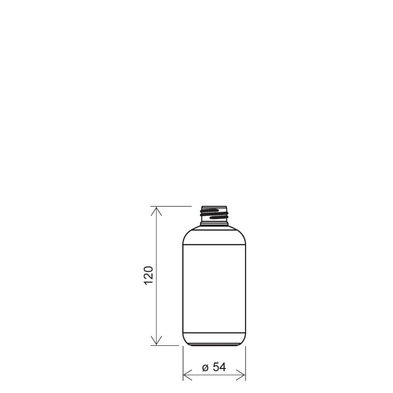 Flacone circolare 200 ml PET, collo 24/410, linea ISCHIA (Disegno)