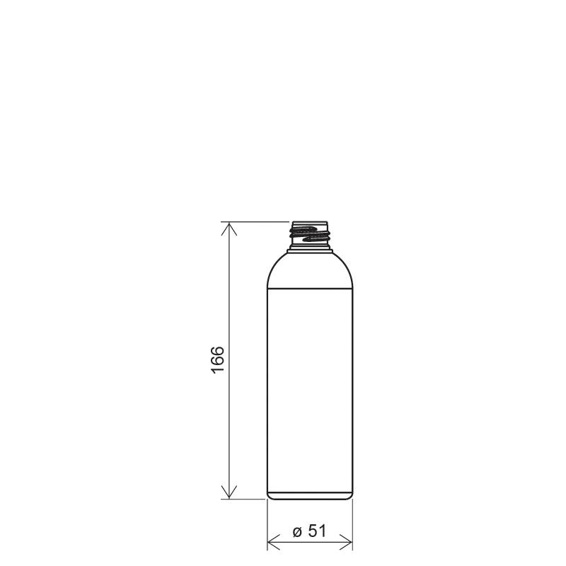 Flacone circolare 250 ml HDPE/PP, collo 24/410, linea ISCHIA (Disegno)