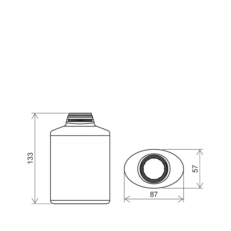 Flacone circolare per talco 400 ml HDPE, collo snap-on, linea BERNA (Disegno)