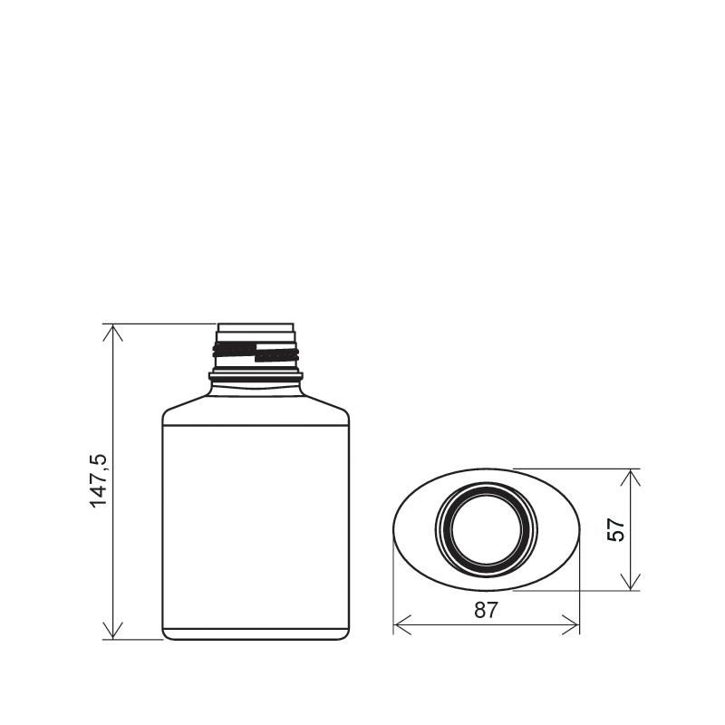 Flacone circolare per talco 400 ml HDPE, collo 40 mm, linea BERNA (Disegno)