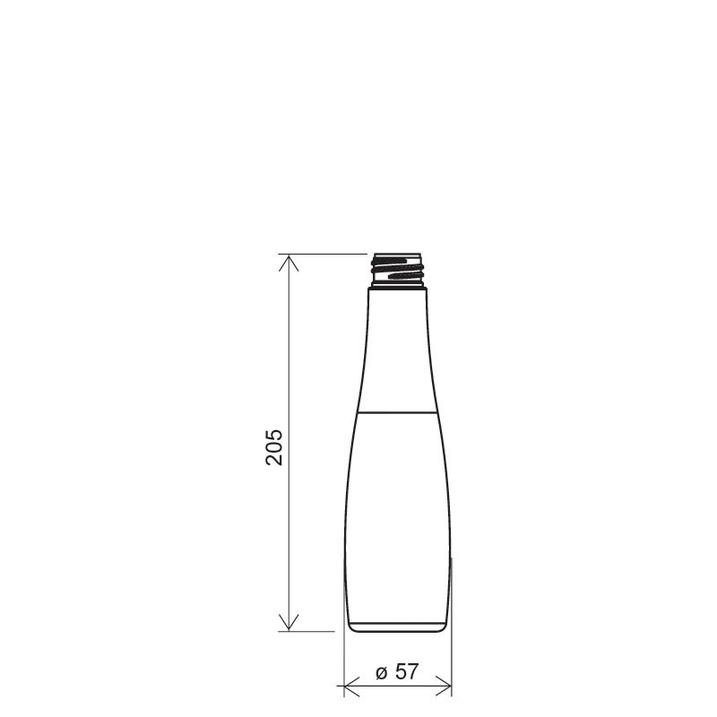 Flacone circolare 300 ml, PETG, collo 28/410, linea MALDIVE (Disegno)
