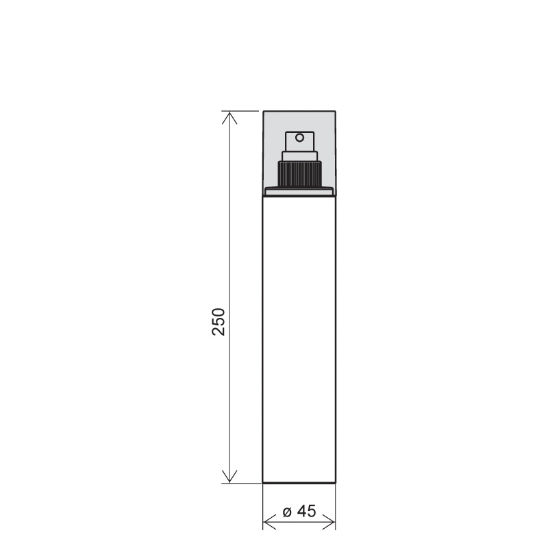 Flacone circolare 250 ml PETG, collo 24/410, linea FORTALEZA (Disegno)