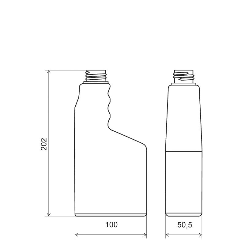 Sprayer 600 ml HDPE, collo 28TE, linea MAURITIUS (Disegno)