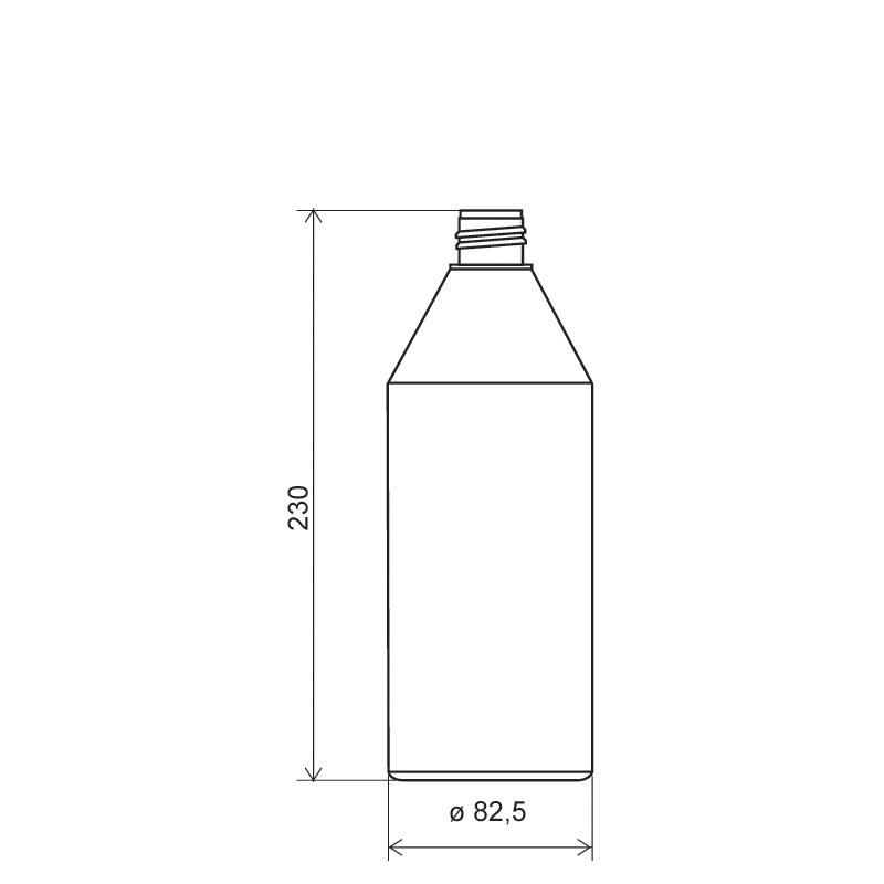 Flacone cilindirico 750 ml HDPE, collo 28/410, linea ANTIGUA (Disegno)