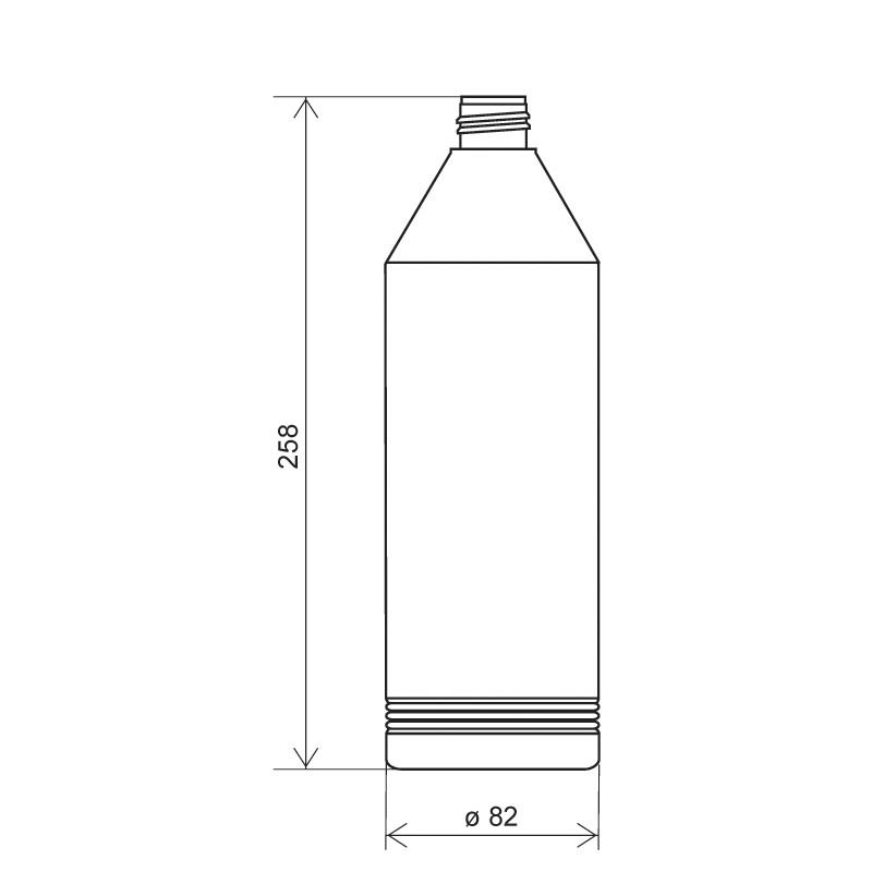 Flacone cilindrico 1 lt HDPE, collo 28/410, linea ANTIGUA (Disegno)