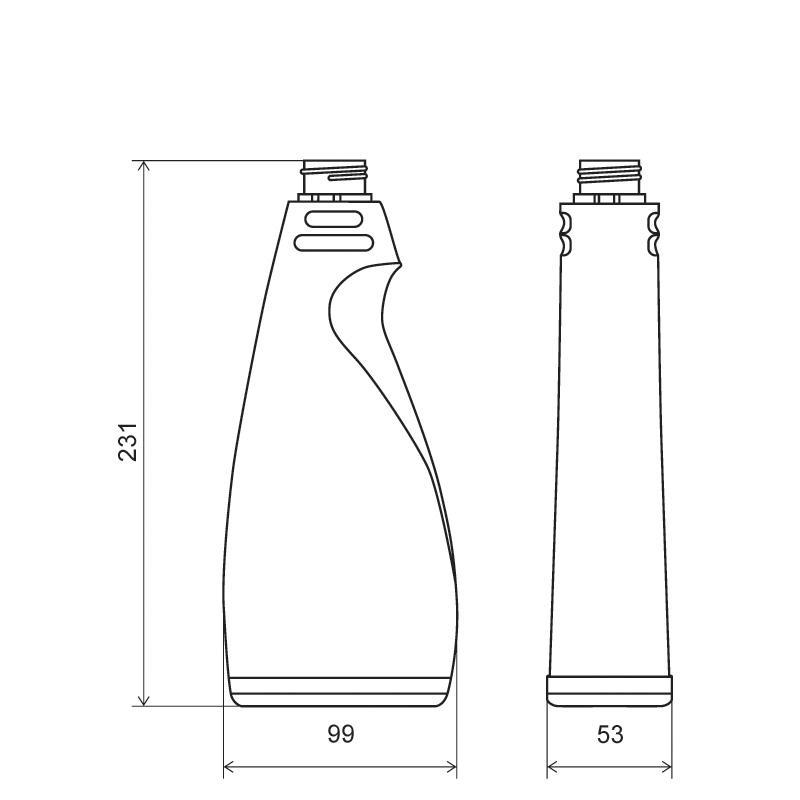 Sprayer 500 ml HDPE/COEX, collo 28TE, linea MAURITIUS (Disegno)