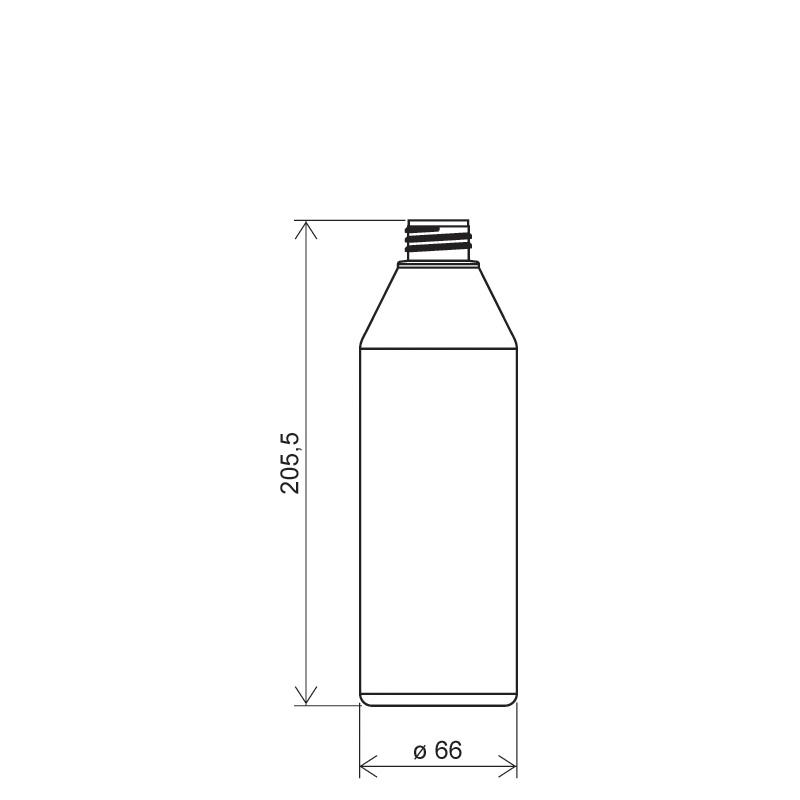 Flacone cilindrico 500 ml HDPE/COEX, collo 28/410, linea ANTIGUA (Disegno)