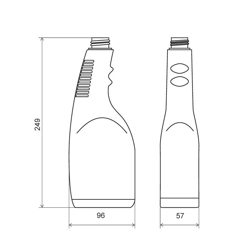 Sprayer 750 ml HDPE, collo 28/410 per trigger, linea MAURITIUS (Disegno)