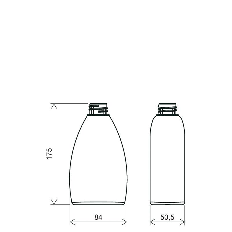 Flacone ovale 300 ml HDPE, collo 28/410, linea TALLIN (Disegno)