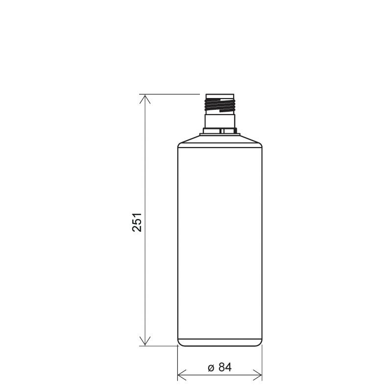 Flacone cilindrico 1 lt HDPE, collo 30mm, linea FLOREANA (Disegno)