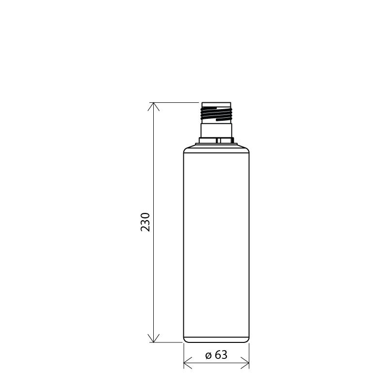 Flacone cilindrico 500 ml HDPE, collo 30mm, linea FLOREANA (Disegno)