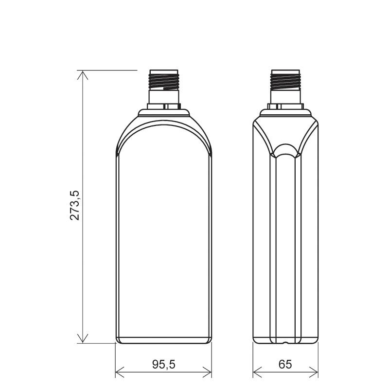 Flacone rettangolare spalla raggiata 1 lt HDPE, collo 30mm, linea FLOREANA (Disegno)