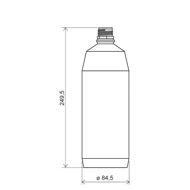 Flacone cilindrico 1 lt HDPE, collo 28TE, linea ANTIGUA (Disegno)