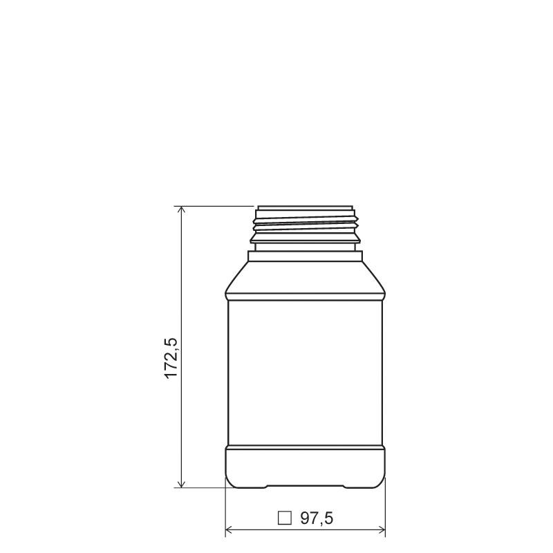 Contenitore quadrato 1 lt HDPE/COEX PA, collo DIN63, linea ANTIGUA (Disegno)