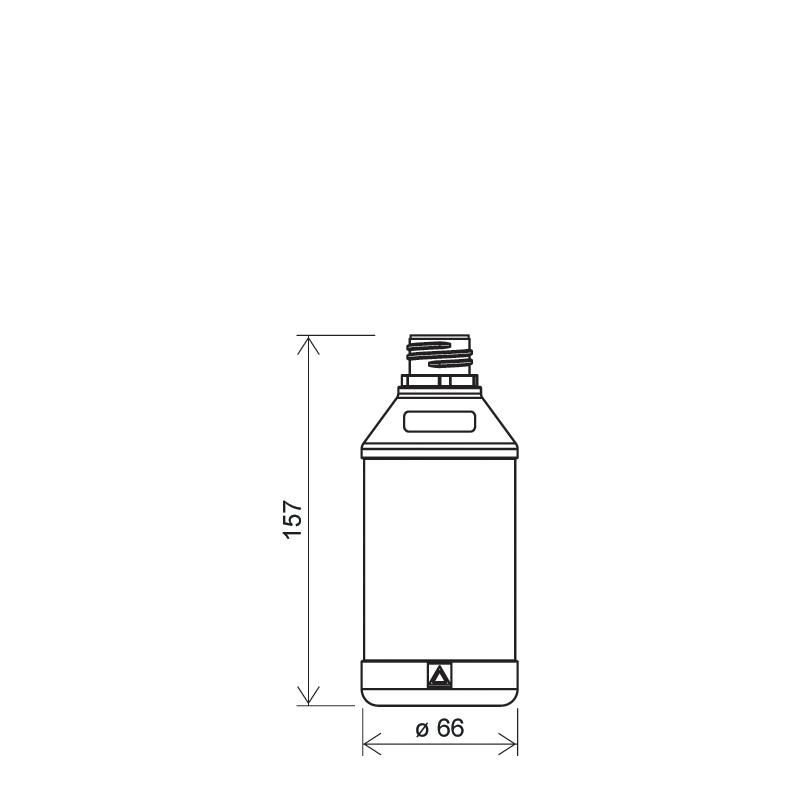 Flacone cilindrico 350 ml HDPE, collo 28TE, linea ANTIGUA (Disegno)