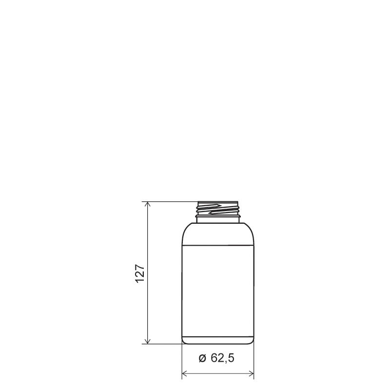 Flacone cilindrico 250 ml COEX-PP, collo 38mm, linea MILOS (Disegno)