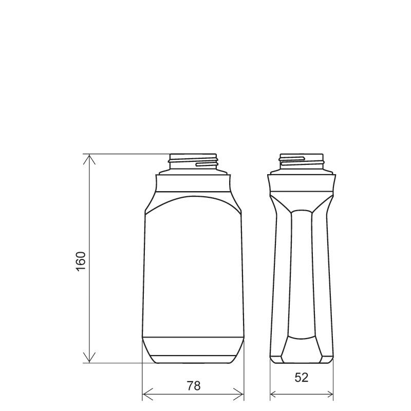 Flacone sagomato 400 ml COEX-PP, collo 38 mm, linea MILOS (Disegno)