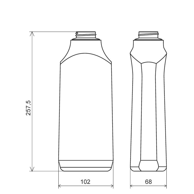 Flacone sagomato 1 lt COEX-PP, collo 38 mm, linea MILOS (Disegno)